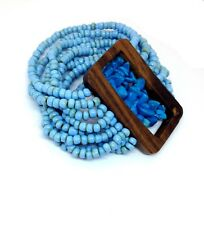 Blue Turquoise Chips Cuff Stretch Bracelet, Glass Seed Beads, Handmade Bracelet