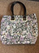 Large Atmosphere Ladies Tote Handbag Floral Design With Black Handles