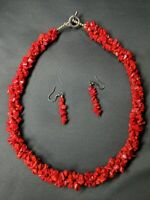 "Vintage Natural Red Coral Twisted Triple Strand 20"" Necklace w/ Earrings"