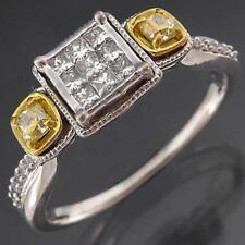 Ornate & Intricate Solid 9k WHITE GOLD 25 DIAMOND FANCY CLUSTER RING Sz T1/2