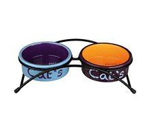 Eat On Feet Raised Ceramic Cat Bowl Set Of Two With Rubber Feet For Cats Kittens
