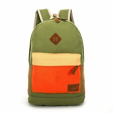 Kids Canvas Contrast Pocket School Backpack - Khaki