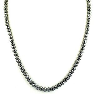 6.5 mm Certified Black Diamond Unisex Necklace, Excellent Cut & Luster