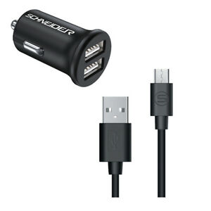 Chargeur Voiture SCHNEIDER 1893 Chargeur Allume Cigare + câble Micro-USB 2,4A 1m