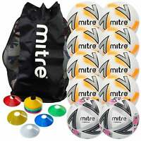 Mitre Premier Football Pack Including 8 x Training, 2 x Match Balls, Cones & Bag