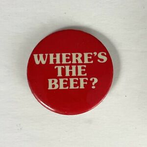 Where's the Beef Pin Button Wendy's Famous 80s Campaign 1 3/4 in diameter Red