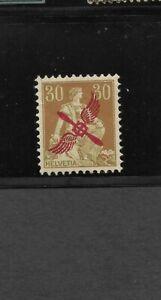 Switzerland Scott #C1 mint lh og 1920 30c yellow brown & pale green airmail f/vf