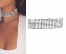 Thick Rhinestone Diamond Crystal Velvet Choker Diamante Necklace Bridal Wedding