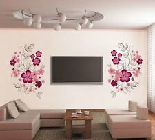 7151 | Wall Stickers Pink Flowers with Black Vine