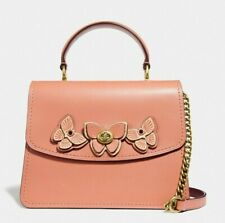 NWT COACH Parker Butterfly Appliqué Leather Satchel Top Handle Bag Peach/Brass