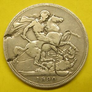 "1890 UK Great Britain Silver Crown Damaged  ""Dragon Slayer"" Take a Look"