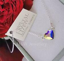 925 STERLING SILVER CHAIN NECKLACE WITH SWAROVSKI Elements HEART CRYSTAL AB 10mm