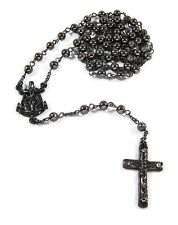 MENS ICED OUT BLACK GOLD PLATED BEAD ROSARY ANCHOR JESUS CROSS NECKLACE *NEW*