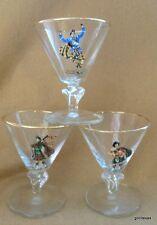 """Vintage Set of 3 Stemmed Cordial Glasses 4"""" Scotland Scotsmen 4"""""""