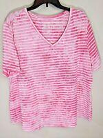 TERRA & SKY Pink White Stripe Tie Dye Short Sleeve Tee Blouse Sz 2X 20W-22W