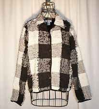 Vintage Sara Studio Black & White Block Button Front Jacket Size M