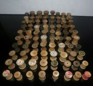 80 Vintage Wood Wooden Sewing Spools for Crafts