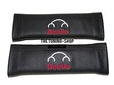 """2x Seat Belt Covers Pads Leather """"Beetle"""" Red Embroidery for Volkswagen"""