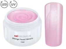 UV LED Farb Gel Pastell METALLIC ROSE Effekt French Color Nail Art Design Rosa