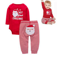 Newborn Babys Boy Girl My First Christmas Jumpsuit Romper Bodysuit+Pants Outfits