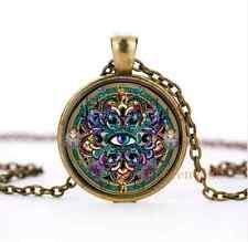 Vintage Eyes of the World Mandala Cabochon Glass Bronze Necklace Jewelry