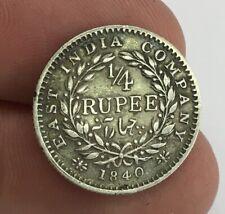 Antique 1840 Queen Victoria East India Company Quarter 1/4 Rupee Coin Silver