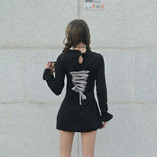 Gothic Lolita Dress Vintage Japan Harajuku Long Sleeve Drawstring Stretch Short