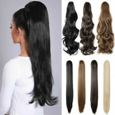 """15""""-24"""" Wavy/Straight Claw Jaw Clip On Ponytail 100% Remy Human Hair Extensions"""