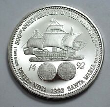 RARE 1992 500th ANN C.COLUMBUS DISCOVERING OF AMERICAS 1 OZ.999SILVER PROOF COIN