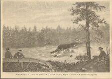 CANADA QUEBEC RIVIERE OTTAWA RIVER LE PIED DES QUINZE GRAVURE IMAGE 1887