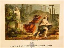 EROTICA - Tavola Acquerellata d'epoca '800 GRATIDIA E VECCHIA SAGANA Perrin