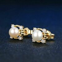 925 Sterling Silver Stud Earrings For Women Round Freshwater Pearl Girls Gift
