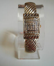 Gold/Black Finish Vintage Style Marcasite Women's Covered Face Bangle Cuff Watch