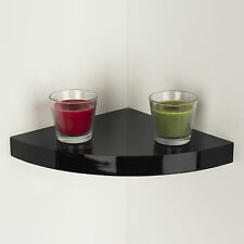 WALL MOUNTED HIGH GLOSS FLOATING CORNER SHELF SHELVES STORAGE KIT DISPLAY UNIT