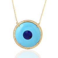 Natural Diamond Lapis Turquoise Pendant Necklace 18k Yellow Gold Fashion Jewelry