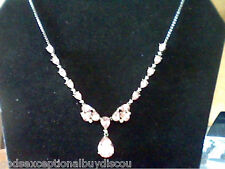 14K WG PL. 20CTW LCS  PINK SAPPHIRE & LCS DIAMOND NECKLACE + FREE EARRINGS
