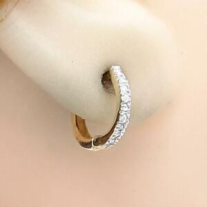 Genuine .18ctw H-SI Diamond 14K Yellow Gold 925 Silver Huggie Earrings