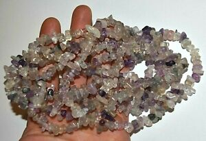 Two Strands Semiprecious Fluorite Gemstone Chip Stone Beads For Jewelry & Crafts