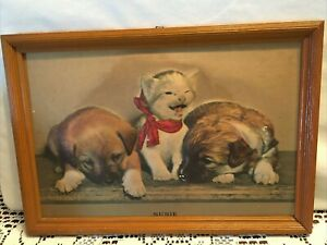 """Vintage puffy 3D Picture of 2 Puppies & Kitten  1920s 30s   13 x 9"""" Wood Frame"""