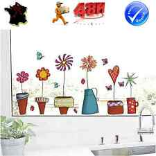 STICKER AUTOCOLLANT AUTO ADHESIF COLORE MUR VITRE DECORATION POTS DE FLEURS
