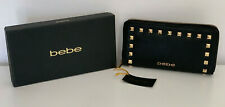 NEW IN BOX! BEBE JANE BLACK GOLD STUDS ZIP AROUND CLUTCH WALLET PURSE $49 SALE