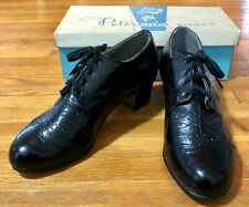 Vintage 1940's Peterman New Old Store Stock Black Leather Oxford Shoes