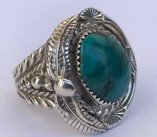 Old Pawn High Grade Turquoise STAMPED Sterling Silver Navajo Men's Ring Sz 11.25