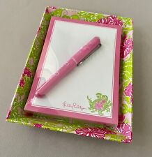 New LILLY PULITZER Pink Green Floral Crab CATCHALL Note Sheets PEN Set FREE SHIP