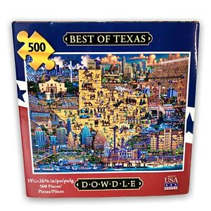"Dowdle Jigsaw Puzzles 500 pc Best Of TEXAS Educational Folk Art 19x26"" NEW USA"
