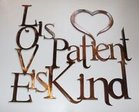 LOVE is Patient Love is Kind Metal Wall Art