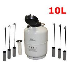 New 10L Liquid Nitrogen Tank Cryogenic Container LN2 Dewar+6Pcs Pails+Lock Cover