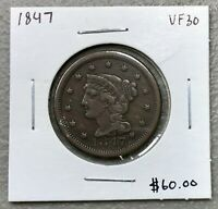 1847 CORONET HEAD LARGE CENT ~ VERY FINE++ CONDITION!  $2.95 MAX SHIPPING! C1418