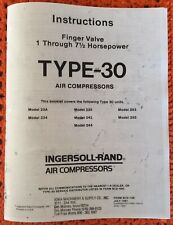 New listing Ingersoll-Rand Air Comp. manual Type 30 Model 23A, 234, 235, 242, 244, 253, 255