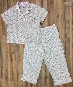 Cabernet Sleepwear Pajama Set Floral Boho Stripes 100% Cotton Size Petite Small
